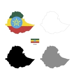 Ethiopia country black silhouette and with flag on vector