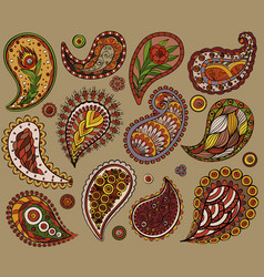Ethnic lace elaments hand drawing colorful design vector