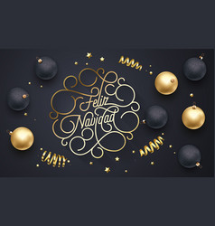 feliz navidad spanish merry christmas flourish vector image