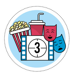 Film countdown number 3 with popcorn and genres vector