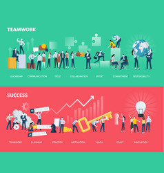 Flat design style web banners of teamwork and succ vector