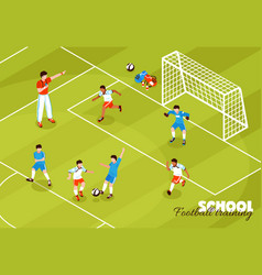 Football training kids background vector