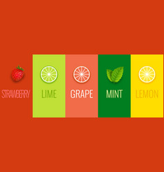 fruit mint lime lemon or grape juice sticker vector image