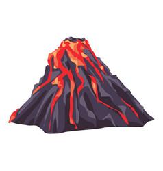 Full lava volcano icon cartoon style vector