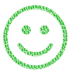 Glad smiley composition of dollar and dots vector
