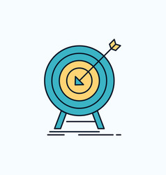 goal hit market success target flat icon green vector image