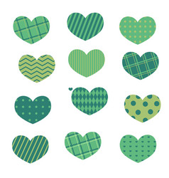 green hearts set with pattern vector image
