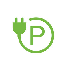 green parking lot charging stations symbol vector image