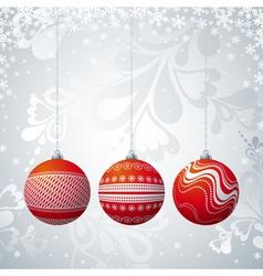 Grey christmas card with three ball vector