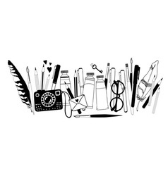 Hand drawn artist stuff vector