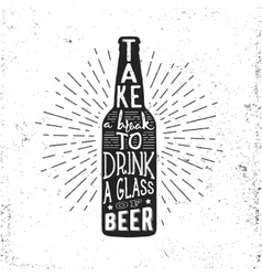 Hand drawn vintage label with beer bottle vector