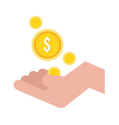 Hand with coins money dollars flat style icon vector