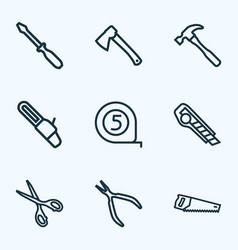 handtools icons line style set with hammer vector image