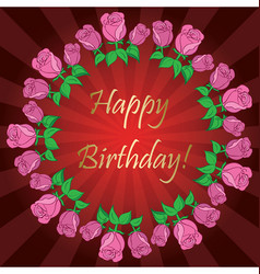 Happy birthday - red background with roses vector