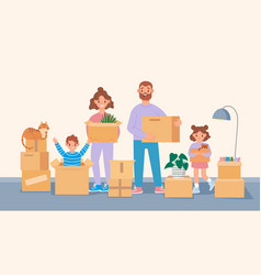 Happy moving family cartoon parents and kids move vector