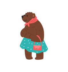 humanized female bear character dressed in human vector image