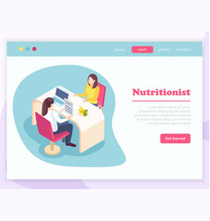 Isometric nutritionist landing page vector