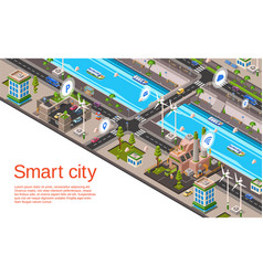 isometric smart city concept vector image