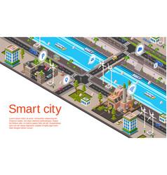 Isometric smart city concept vector