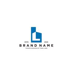 Letter l and building logo design vector