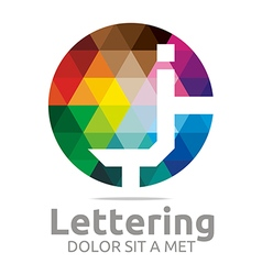 lettering j rainbow alphabet icon vector image