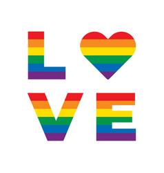 lgbt rainbow equality symbols love slogan vector image