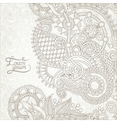 Light floral frame on paisley background vector