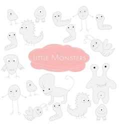 Little funny Monsters Doodle vector image