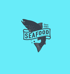Logo seafood salmon seafood restaurant identity vector