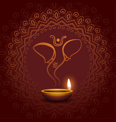 Lord ganesha and festival diya card design vector