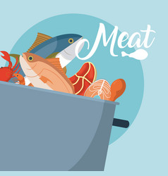 Meat in pot fresh seafood vector