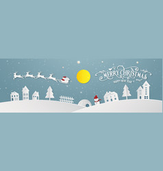 merry christmas snowy town day night and happy vector image