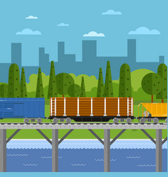 mixed freight train within urban landscape vector image