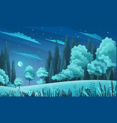night forest or countryside landscape trees vector image