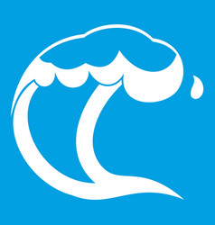 Ocean or sea wave icon white vector