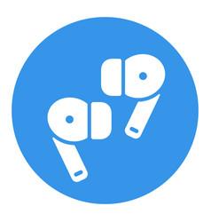 Pair wireless earbud headphones glyph icon vector