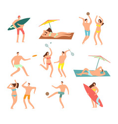 People in swimsuits in sea beach vecation vector