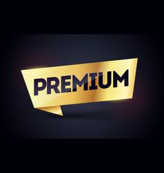 Premium black and gold label luxury golden flag vector