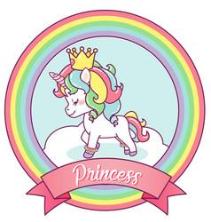 Princess unicorn on a rainbow frame vector