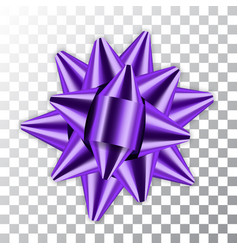 purple bow 3d ribbon decor element package shiny vector image