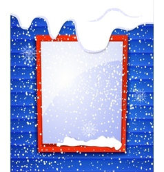 Rectangular window outside house in winter falling vector image