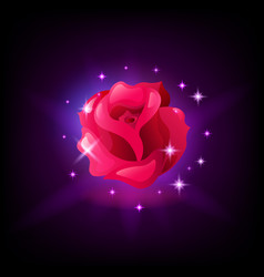 red rose flower slot machine icon with sparkles on vector image