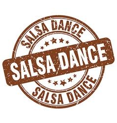 Salsa dance brown grunge round vintage rubber vector