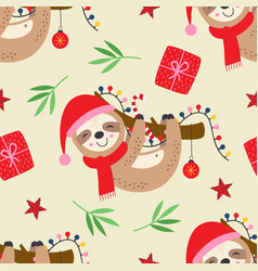 seamless pattern with christmas sloth vector image