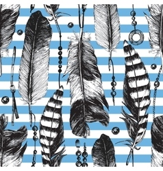Seamless pattern with hand drawn feathers vector