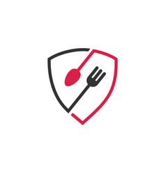 Secure food shield restaurant fork spoon logo icon vector