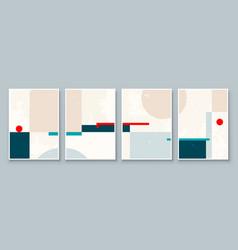set abstract geometric wall art mid century vector image