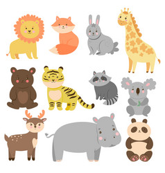 set cute animals in cartoon style isolated vector image
