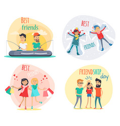 set of best friends and friendship day flat design vector image