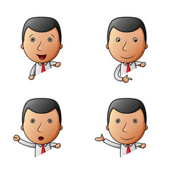 set of businessman cartoon with different gestures vector image